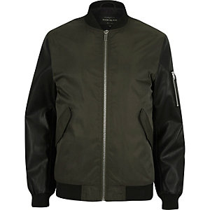 Dark green contrast sleeve MA1 bomber jacket