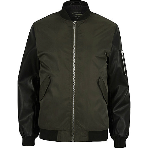 Dark green contrast sleeve MA1 bomber jacket