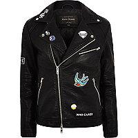 Black faux leather badged biker jacket