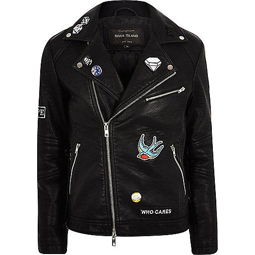 Black leather look badged biker jacket