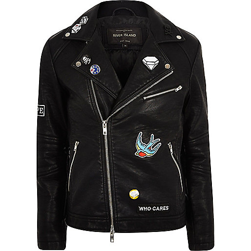 Black faux leather badged biker jacket