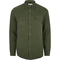 Khaki green twill casual western shirt