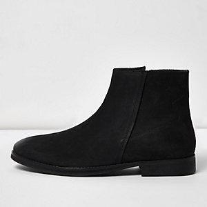 Zwarte nubuckleren laarzen met rits