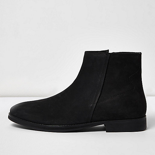 Black nubuck leather zip boots