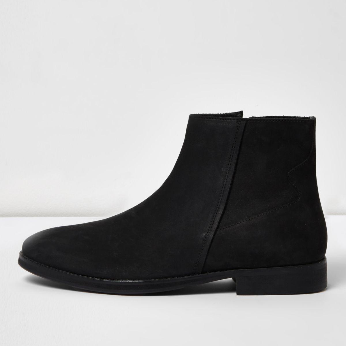 Bottes en cuir et nubuck noires zippées