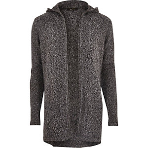 Grey grunge mohair open cardigan