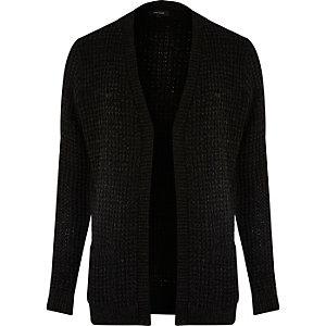 Black waffle knitted cardigan