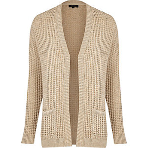 Light brown waffle knitted cardigan