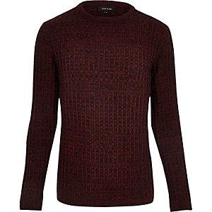 Bordeauxrode geribbelde pullover