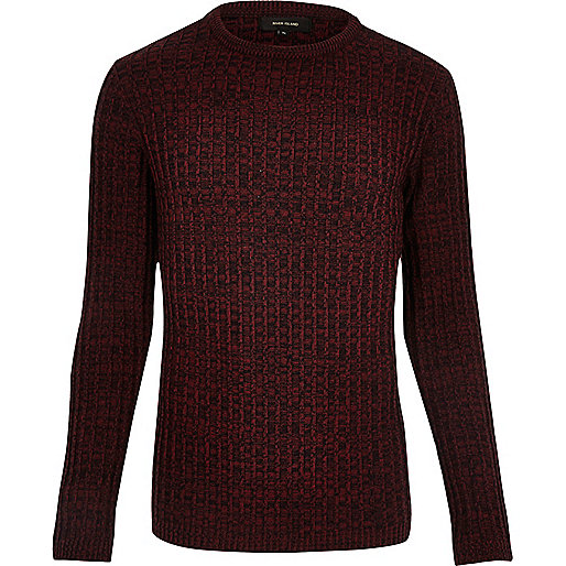 Gerippter Pullover in Bordeaux
