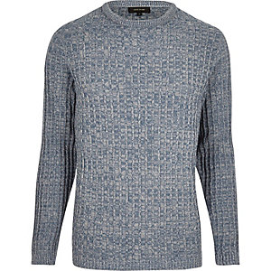 Light blue ribbed jumper