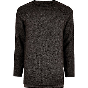 Dark grey textured crew neck jumper