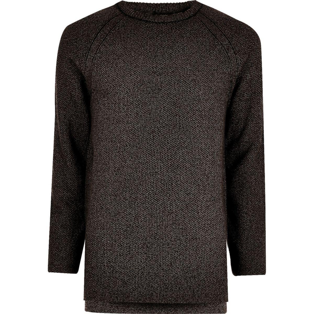 Dark grey textured crew neck jumper