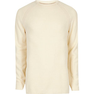 Cream textured crew neck sweater