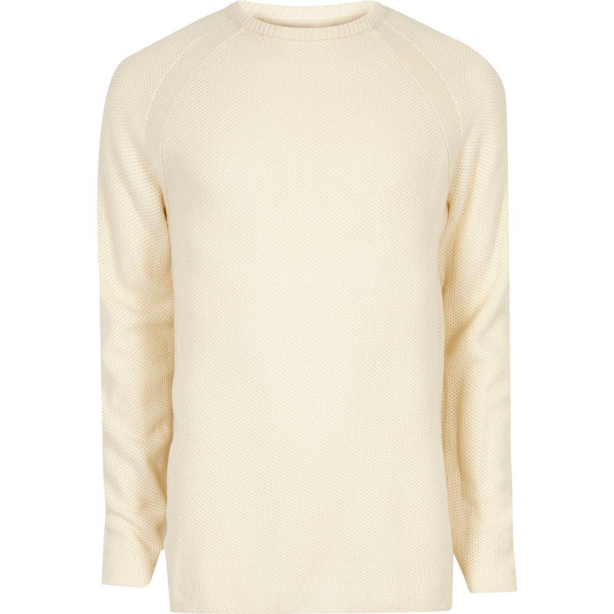 Cream textured crew neck jumper