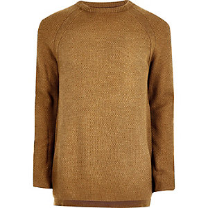Dark yellow textured crew neck sweater