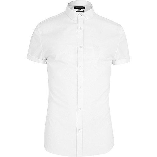White short sleeve skinny fit shirt
