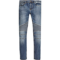 Mid blue wash biker Danny super skinny jeans