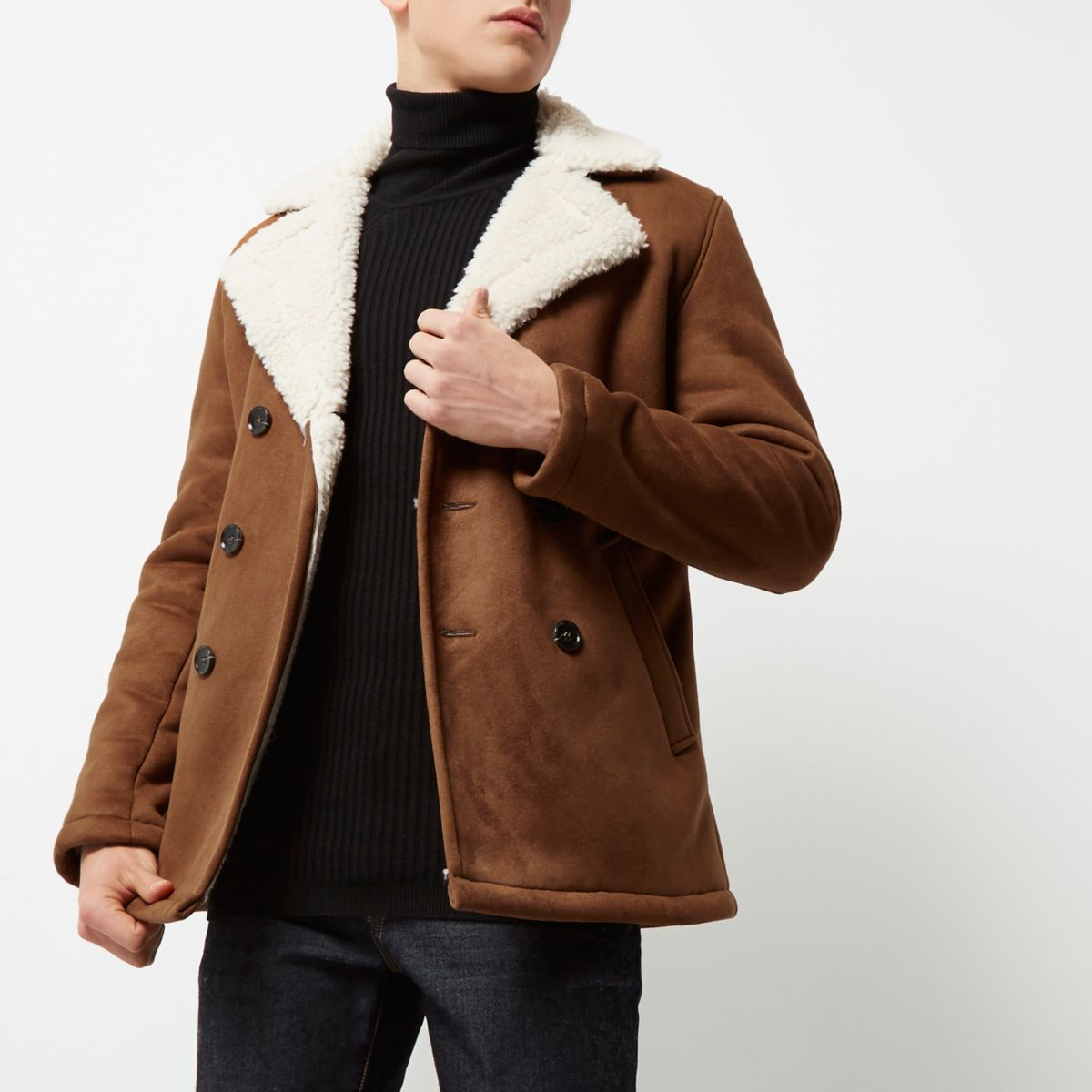 Brown double breasted fleece collar pea coat