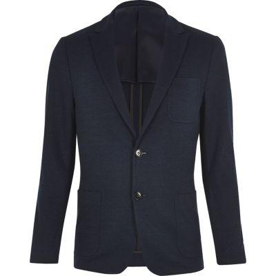 Vito donkerblauwe blazer met textuur
