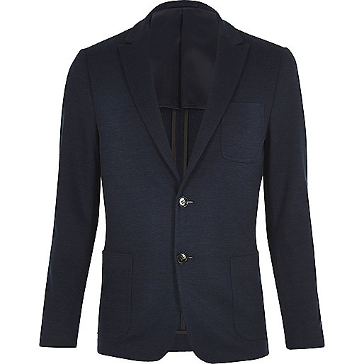 Dark blue Vito textured blazer