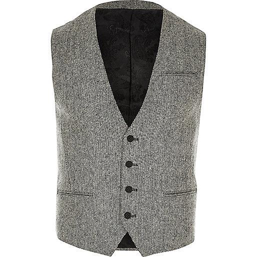 Light grey textured Vito waistcoat