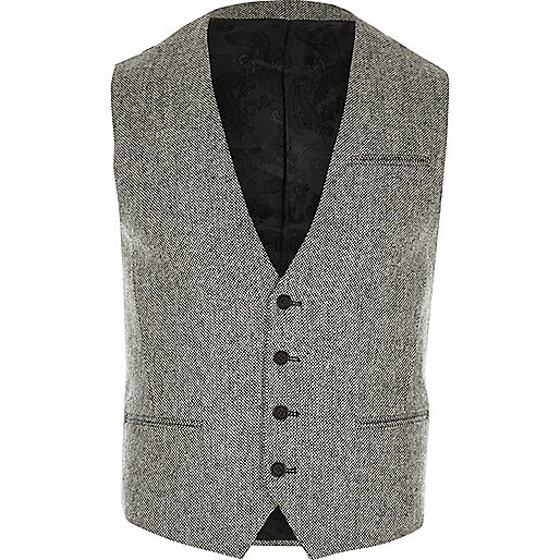 Light grey textured Vito vest