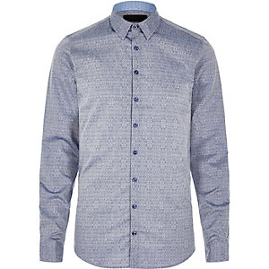 Blue textured print Vito shirt