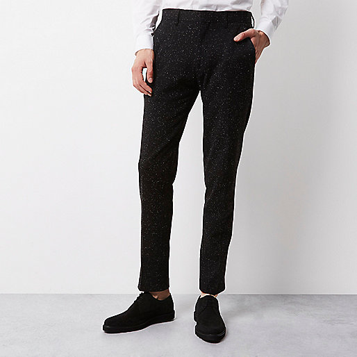 Black textured Vito tux trousers