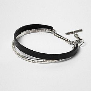 Black and silver tone cuff bracelet