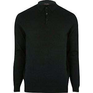 Dark green long sleeve polo shirt