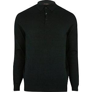 Donkergroene slim-fit pullover met polokraag