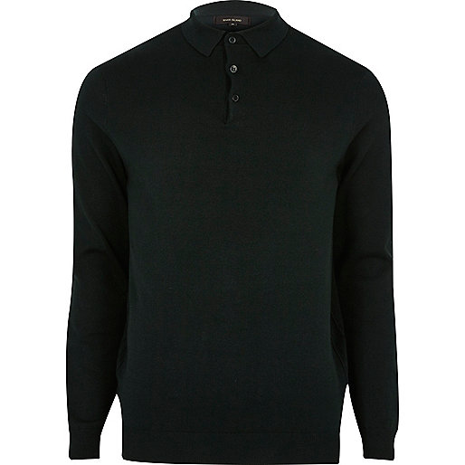 Dark green long sleeve polo shirt