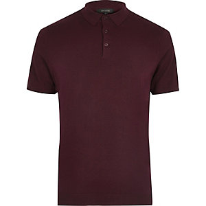 Dark purple slim fit polo shirt