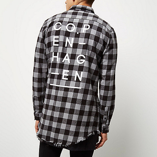 Grey longline raw hem check shirt