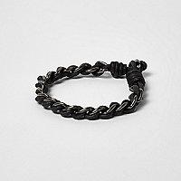 Black metallic chain cord bracelet