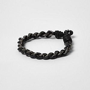Zwarte metallic kettingarmband