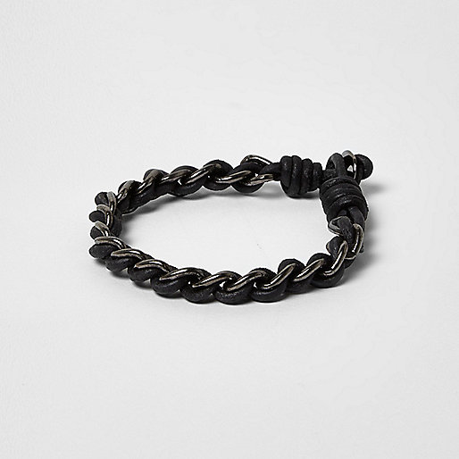 Bracelet cordon noir avec chaîne métallique