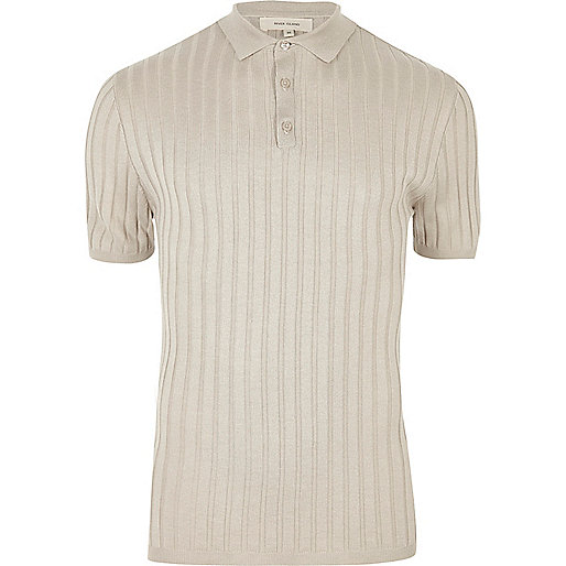 Light grey ribbed musle fit polo shirt