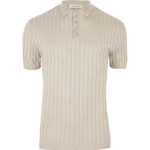 Light grey ribbed polo shirt