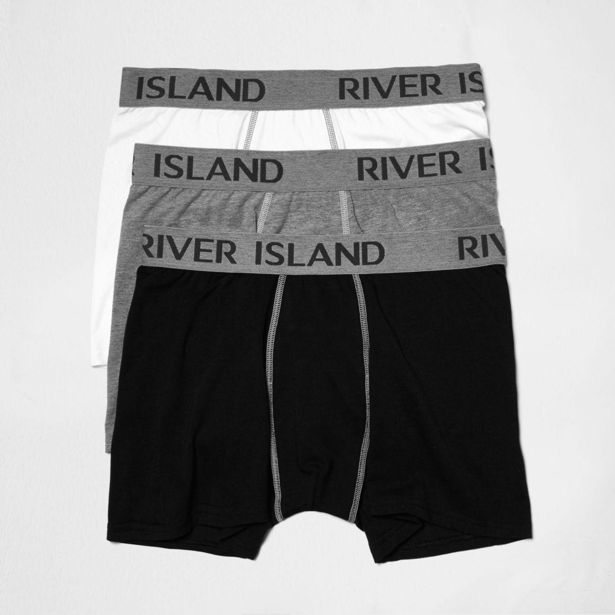 Grey marl branded waistband trunks multipack