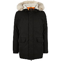 Black faux fur trim hooded parka