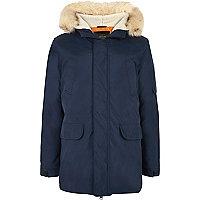 Navy blue faux fur trim hooded parka