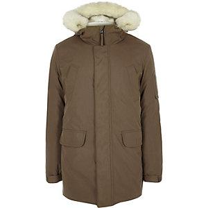 Brown faux fur trim hooded parka