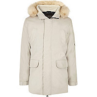 White faux fur trim hooded parka
