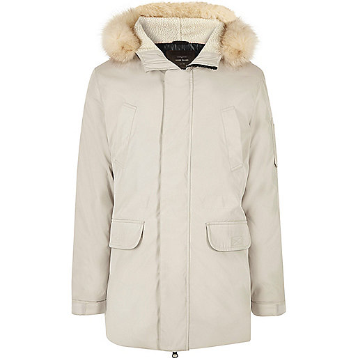 White faux fur trim hooded parka