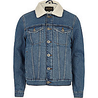 Blue wash borg lined denim jacket
