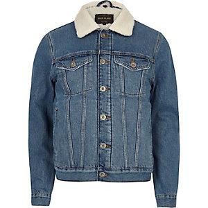 Blaue Jeansjacke mit Futter