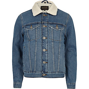 Veste en jean bleu délavé avec doublure imitation mouton