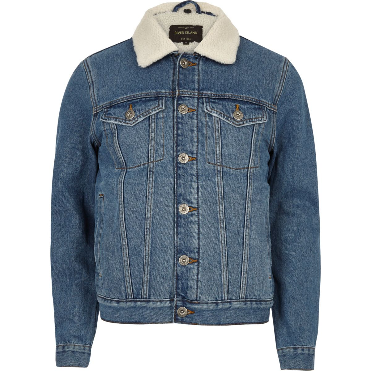 Blue wash fleece lined denim jacket